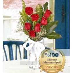 Vazoda 7 Tane Kırmızı Güller